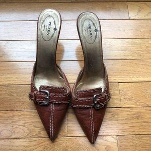 Prada brown leather mules